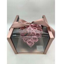 Akril Szíves rózsaszín doboz szappanrózsával