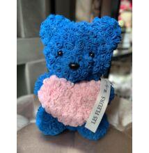Szivárványos Örökmaci 24 cm -kék/rózsaszín szív