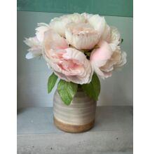 Kerámia váza - szürke-zöld/selyemvirággal