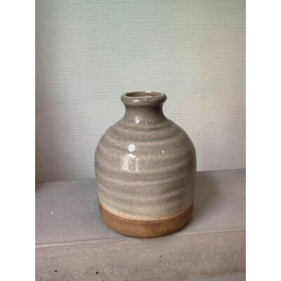 Kerámia váza - szürke-zöld